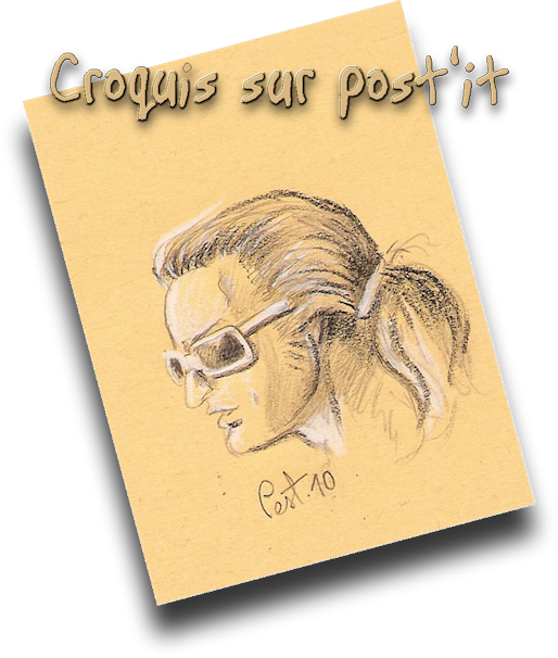 Croquis sur Post'it , imaginons Polnareff avec une queue de Cheval :)